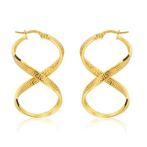 Unendlichkeit Griechische Schlüssel Ohrringe Creolen Gelbgold Aus 14 Karat 585 Gold