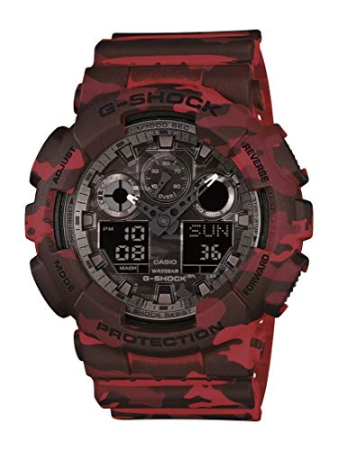 Casio Men's G-Shock XL Series Japanese Quartz Sport Watch with Resin Strap, Red, 29.4 (Model: GA-100CM-4A)