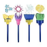 wuudi Confezione di pennelli per Bambini, Kit di Spugna per Pittura con apprendimento precoce con Grembiule Impermeabile a Manica Lunga, Kit di Disegno per 56 Pezzi #4