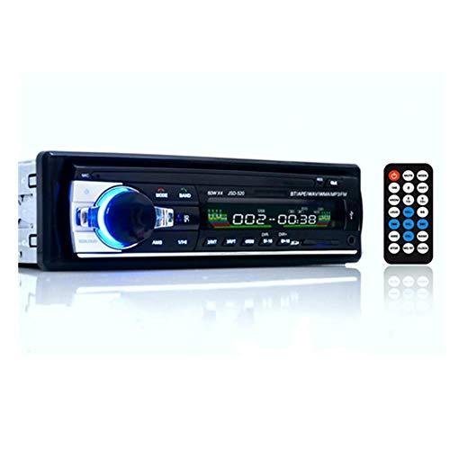 WXJWPZ Bluetooth Autoradio Radio Estéreo para Coche Receptor de Entrada Auxiliar FM SD USB JSD-520 12V en el Tablero 1 DIN Reproductor Multimedia MP3 para Coche