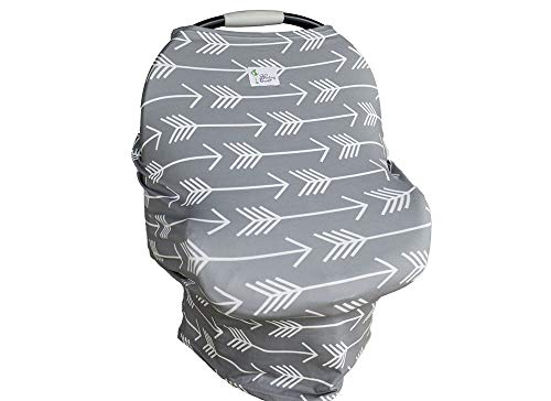 Best Selling- 4-in-1 Stretchy Arrow Baby Carseat Cover Canopy | Nursing Cover | Shopping Cart Cover | Infinity Scarf (Gray Arrows) Includes Drawstring Carry Bag- Baby Shower Gift- Soft & Breathable