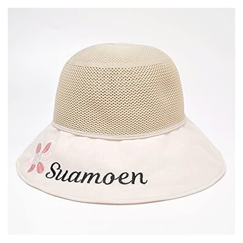 DHDHWL Sombrero Niños Sombrero del Sol De Los Niños, Sombrero De La Niña, Sábana Delgada, Amplio Azul, Sombrero De Sol De Verano, Malla De Pescador, Marea Playa (Color : Beige, Size : S 2 4Y)