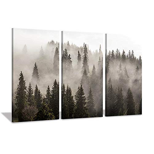 Natural Landscape Wall Art Paintings: Photographic Artworks Dark Tree line with Foggy Misty Forest Pine Print on Wrapped Canvas for Decoration, Multi-Piece Image (16'x26'x3, Gray Wall Decor)