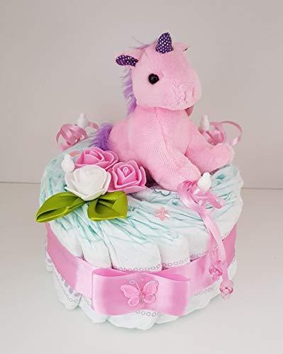 Windeltorte rosa, Geschenk zum Geburt, Taufe, Babyparty Mädchen, Einhorn, Windeln