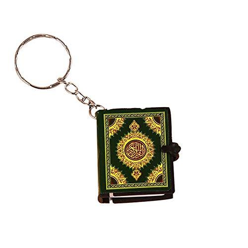 ZqiroLt Schlüsselkette, Legierung, PVC, Papier Schlüsselring Armbänder Armband Schlüsselbund Armreif Schlüsselring-Mini Quran Arabisch Anhänger Schlüsselbund Grün