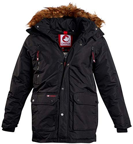 CANADA WEATHER GEAR Mens Heavyweight Teflon Parka Jacket with Removable Hood, Size Large, Black'