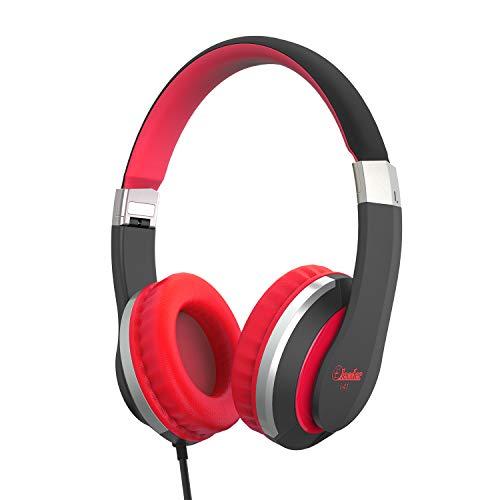 Elecder i41 Kids Headphones, Headphones for Kids Children Girls Boys Teens Foldable Adjustable On Ear Headphones with 3.5mm Jack for iPad Cellphones Computer MP3/4 Kindle Airplane School(Red/Black)