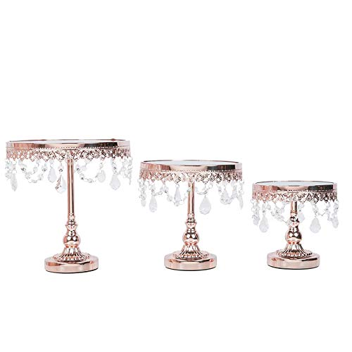 Efavormart Set of 3 Round Silver Top Cup Cake Riser Centerpiece Stand Wedding Birthday Party Dessert Rise Cake Display Stand