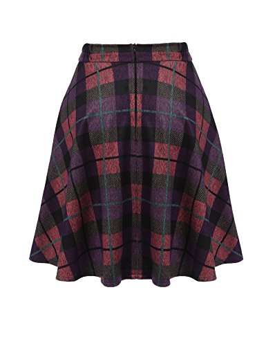 Unibelle Damen Kariert Skirt Minirock Faltenröcke Kurzer Rock Mini Plissiert Rock Skater Rock Lila-Rosa L
