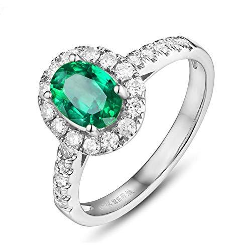 Beydodo Verlobungsring Weißgold750 Halo Oval Smaragd 1.35ct Hochzeitsringe Ring Weißgold mit Diamanten Gr. 45 (14.3)