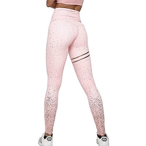 ArcherWlh Yoga Pantalones,Nuevo Estiramiento de Cintura Alta Estampado de Calientes Plateado Pantalones de Yoga Pantalones de Fitness Pantalones Leggings-Negro y Plata_SG