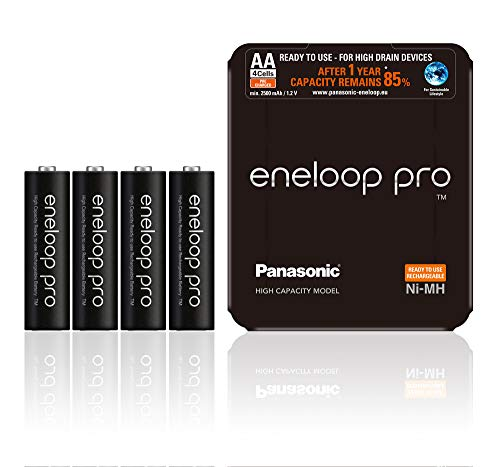 Panasonic eneloop pro, Ready-to-Use Ni-MH Akku, AA Mignon, 4er Pack, Storage Case, min. 2500 mAh, 500 Ladezyklen, starke Leistung, wiederaufladbare Akku Batterie