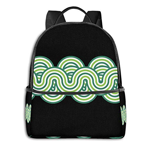 Horizontal Waves Pattern Green Teal Pullover Hoodie Student School Bag School Cycling Leisure Travel Camping Outdoor Backpack