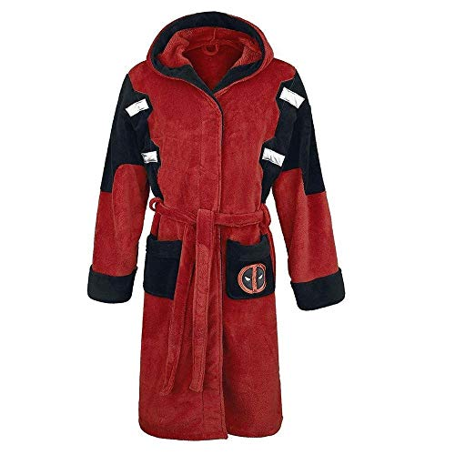 Zyuan Deadpool Morgenmantel Bademantel Cosplay Wade Winston Wilson Winter-mit Kapuze Knie-Länge Bademantel Dressing Plus Size ShanDD (Size : One Size)