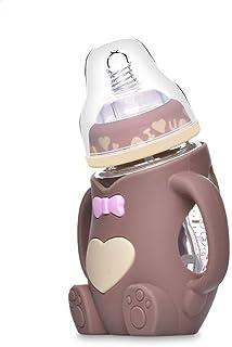 宽口径婴儿带手柄防摔防胀气奶瓶 新生婴儿宝宝?#36864;?#20223;真母乳吸管硅胶奶瓶 (咖啡色)