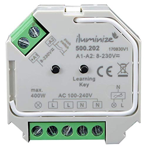 iluminize Funk Schalt-Aktor Mini, 1x 230V, 200W/400W, schalten per Funk mit iluminize Hand-Fernbedienung, Wand-Dimmer, Desk-Dimmer oder WiFi-Bridge, WICHTIG: nicht Zigbee 3.0 kompatibel (Schalt-Aktor)