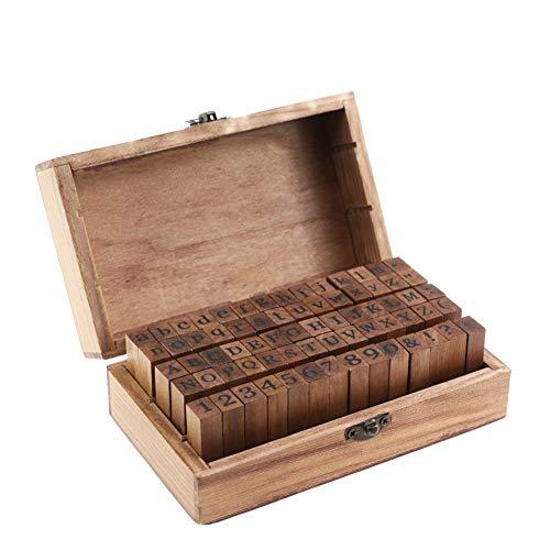 Alphabet, Zahlen und Symbole aus Holz Stempel Letter Seal 70pcs mit Vintage Box für Craft Stamping