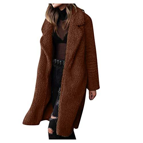 aliveGOT Women's Warm Fuzzy Fleece Lapel Long Cardigan Coat Faux Fur Outwear (Brown 2, 2XL)
