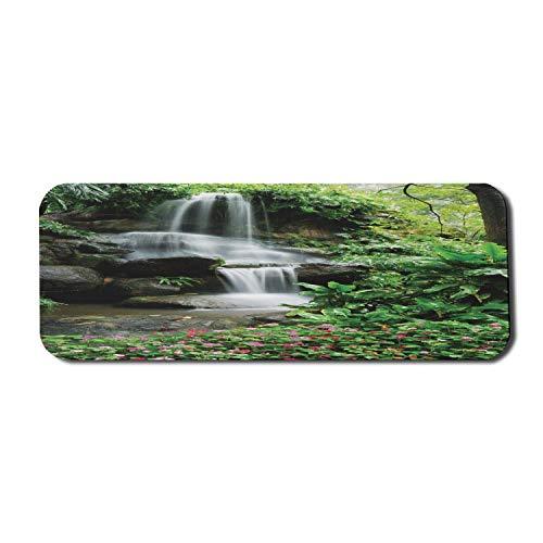 Wasserfall Computer Mauspad, Wasserfall Teich Blumen Tropenpflanzen Majestätischer frischer Dschungelgarten, Rechteck rutschfestes Gummi-Mauspad Großes Grün Dunkelbraun Weiß