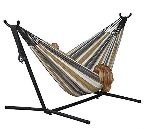 sxyp vrijstaande hangmat met stevige stalen frame, staande schommelende hangmat, 100% katoen hangmat grijs en gele strepen voor buiten tuin en terras, woestijnmaan