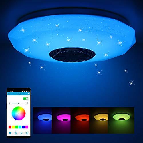 Plafoniera LED Soffitto 36W con Altoparlante Bluetooth, Lampada musicale con cambio colore con telecomando e controllo APP, Ø29 cm Plafoniere Dimmerabili per soggiorno, camera dei bambini