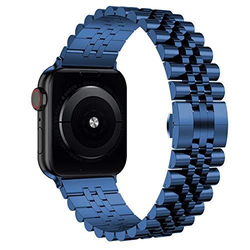 Sorteo Link Bracelet for IWATCH Steel Steel Correa for Apple Watch 5 6 40mm 44mm Banda Serie 4 3 2 1 Deportes y edición Muñeca Pulsera (Band Color : Blue, Band Width : 38mm)