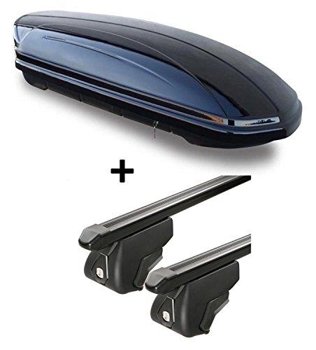 VDP Dachbox 320 Liter + Relingträger Trek CC kompatibel mit BMW 3er Touring E91 (Kombi) 2010-2012