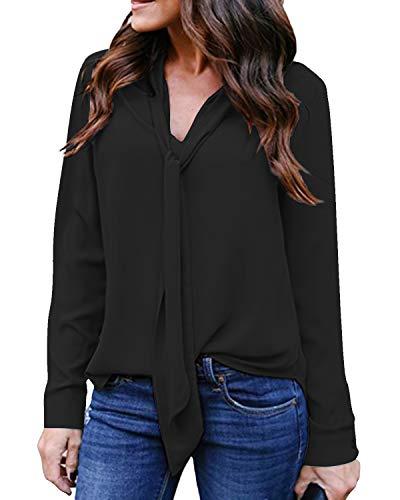Auxo Camisas Mujer Sexy Blusas Cuello V con Corbata Mangas Largas de Oficina Tops Suelto Casual Baratas Z-Negro-no Transparente S