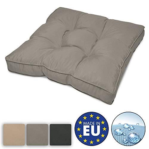 Beautissu Flair Lounge Outdoor Kissen Wasserabweisend Sitzkissen 50x50x10cm Polster für Gartenmöbel und Rattan Loungekissen Hellgrau