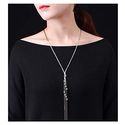 XXylt Strickjacke-Kette Halskette Silber plattiert 605mm Neuheit Schmuck mit Quaste Linie hängenden Qualitäts-Geschenke for Damen Damenmode