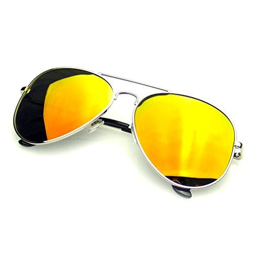Emblem Eyewear Espejo Completo Flash Polarizados Gafas De Sol De Aviador (Plata Roja)