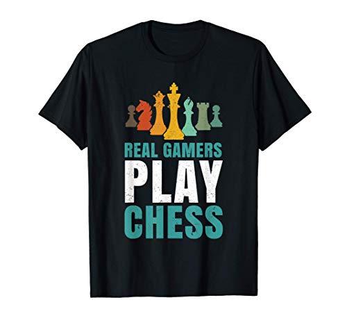 Ajedrez Retro Diciendo Jugador - Real Gamers Play Chess Camiseta