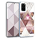 kwmobile Hülle kompatibel mit Samsung Galaxy S20 Plus - Handyhülle - Handy Hülle Glory Dreieck Muster Rosa Rosegold Weiß