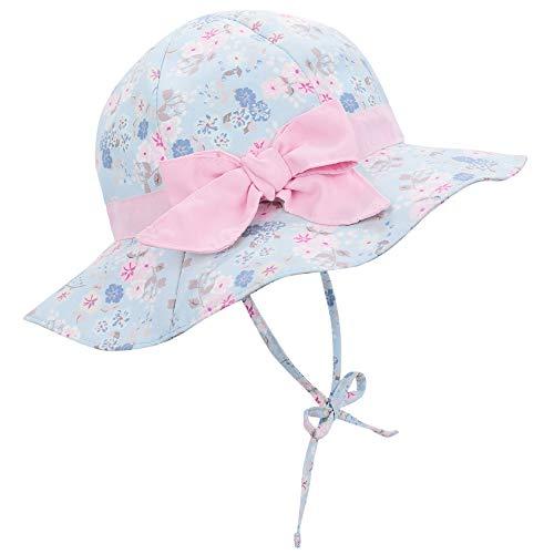 Durio Sonnenhut Baby Mädchen Jungen Kinder Sonnenschutz UPF 50 Sommer Kinderhut Fischerhut mit Breite Krempe Blaue Blumen 4-8 Jahre