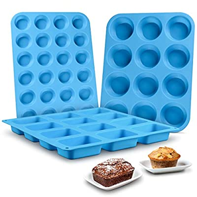 Muffin Pan Silicone Brownie Molds - Cupcake Pan Baking Silicone Molds Food Grade Silicone BPA Free Brioche Pan Pinch Test Approved