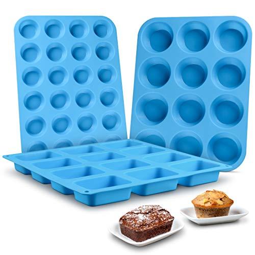 Muffin Pan Silicone Brownie Molds - Cupcake Pan Baking Silicone Molds Food Grade Silicone