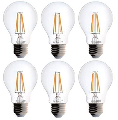 Bioluz LED Clear Filament Dimmable A19 Soft White (2700K) Light Bulb, UL Listed