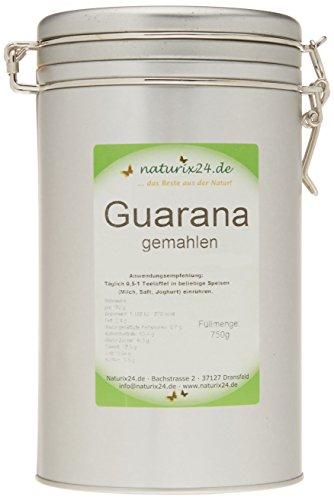Naturix24 Guarana reines Pulver Bügelverschlußdose, 1er Pack (1 x 750 g)