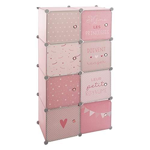 Atmosphera - Armario con almacenamiento y barra modulable para habitación infantil, 124 cm de altura, color rosa