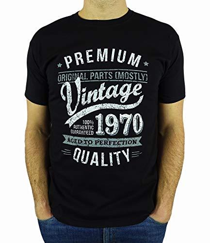 My Generation Gifts Vintage Year - Aged to Perfection - 50 Cumpleaños Años - Regalo de Cumpleaños Camiseta para Hombre - Negro 2XL