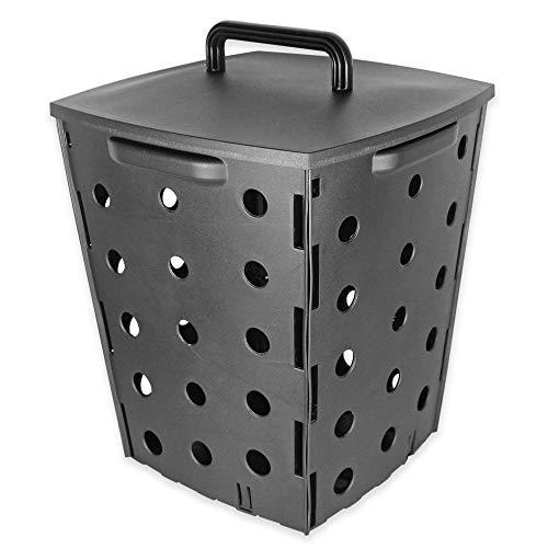Compostador de jardín 17 L - Cubo de Compost para residuos orgánicos - Cubo de exterior con tapa - Producción de Abono 100% Natural - 35 x 28 x 28 cm - Plástico - Gris