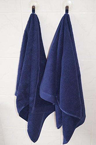Lot Serviette Coton Bio GOTS Serviette 50 X 100 cm 600 g/m² 2, bleu foncé, 50 x 100 cm