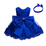 Lace Flower Girls Bowknot Tutu Dress for Kids Baby Christening Baptism Communion Birthday Party Formal Dress Toddler Princess Pageant Wedding Bridesmaid Gown with Headwear Royal Blue 6-9 Months