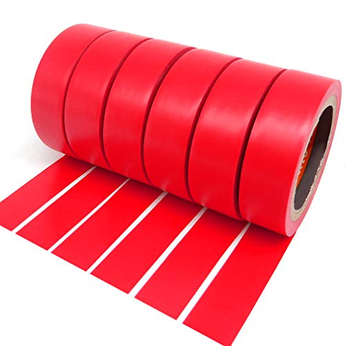 Isolierband, PVC, 6 Rollen, stark, selbstklebend, 17 mm x 9 m, Rot