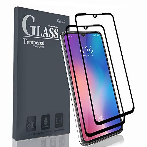 Ferilinso Cristal Templado para Xiaomi Mi 9, [2 Pack][Edición Mejorada] [Pegamento Adhesivo Completo] Cristal Templado de absorción Completa y Cobertura Total (Negro)