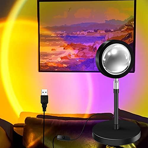 Sunset Projection Lamp, LED Rotación 180° Romántico Visual Proyector de puesta de sol, USB lámpara de pie moderna, lámpara de noche para salón (Sol)