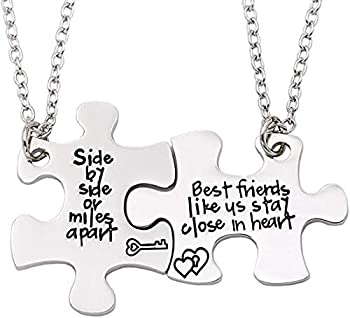 2PCS Best Friends Necklaces for 2 - Side by Side Or Miles Apart BFF Friendship Matching Puzzle Necklace Set Long Distance Friendship Gifts for Women Teen Girls