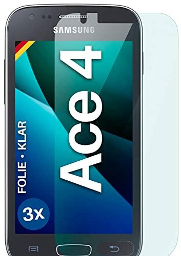 moex Klare Schutzfolie kompatibel mit Samsung Galaxy Ace 4 - Bildschirmfolie kristallklar, HD Bildschirmschutz, dünne Kratzfeste Folie, 3X Stück
