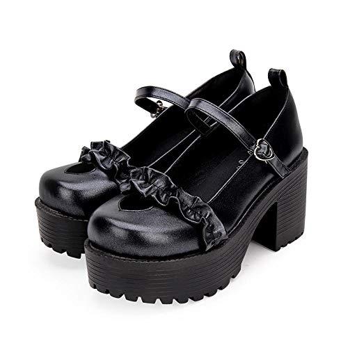 LIGEIAOGIAO Niñas niñas Lolita Cosplay Zapatos Damas Tacones Altos 8cm-Vino Tinto_38