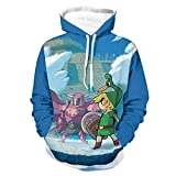 Legend of Zelda Minish - Sudadera con capucha para hombre y mujer, con bolsillo canguro bifurcado, color negro XL